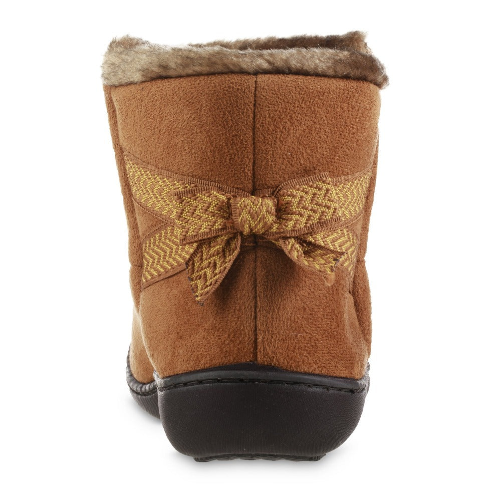 Women's Microsuede Mallory Bootie with Bow Slippers in Cognac Back Heel