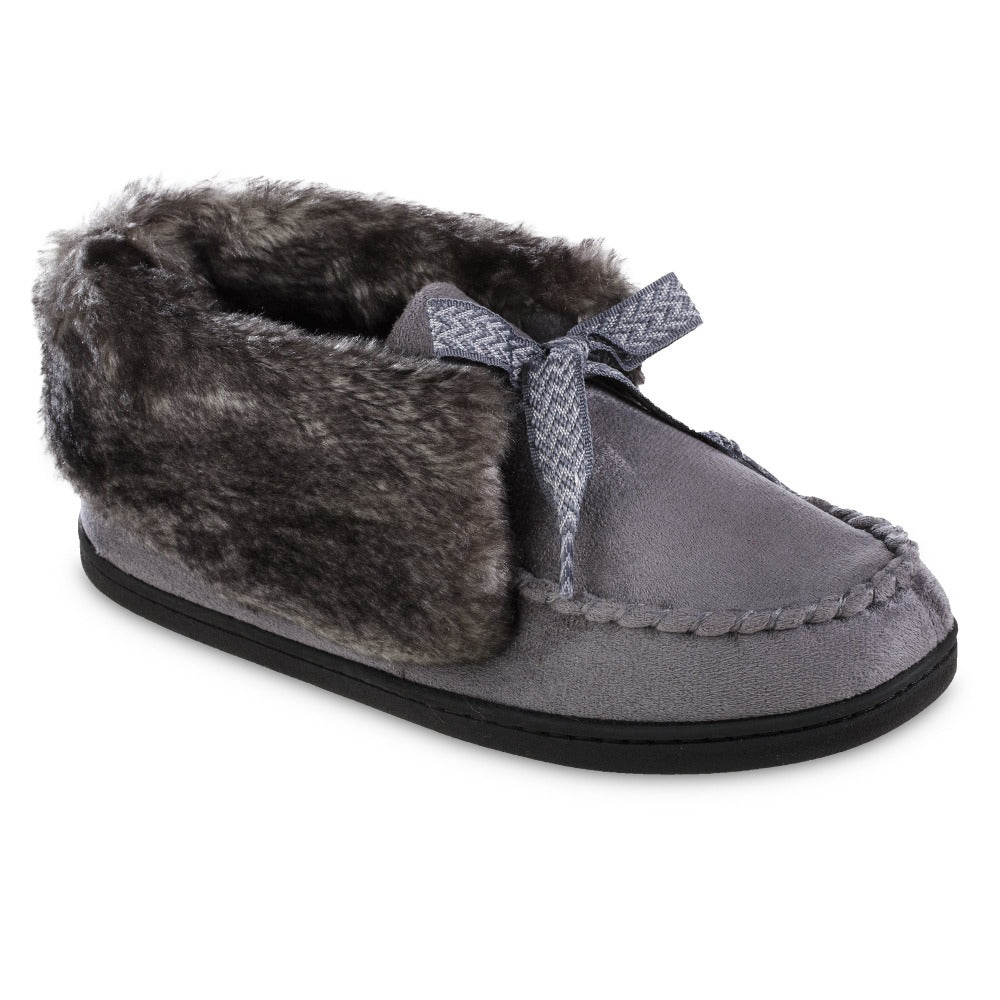 Women's Microsuede Nelly Moc Bootie Slippers in Ash Right Angled View