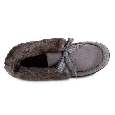 Women's Microsuede Nelly Moc Bootie Slippers in Ash Inside Top View