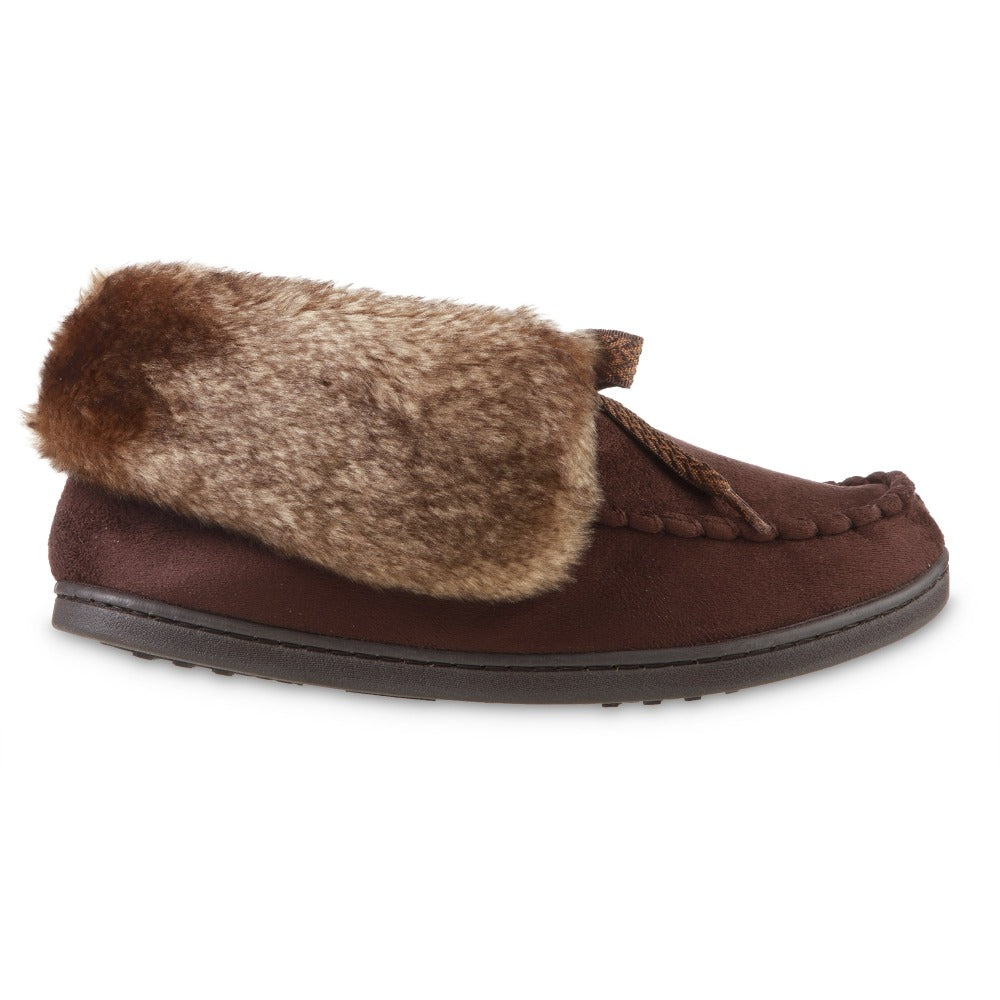 Women's Microsuede Nelly Moc Bootie Slippers in Dark Chocolate Profile