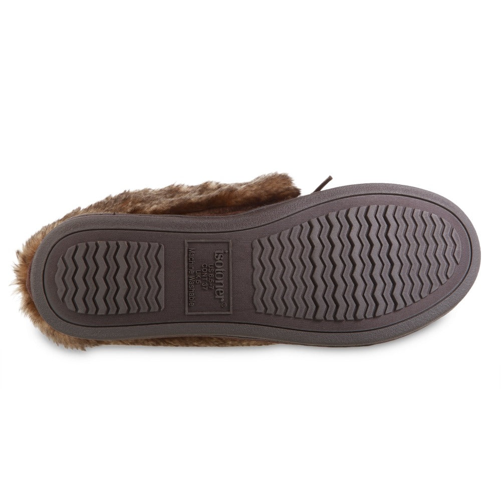 Women's Microsuede Nelly Moc Bootie Slippers in Dark Chocolate Bottom Sole Tread