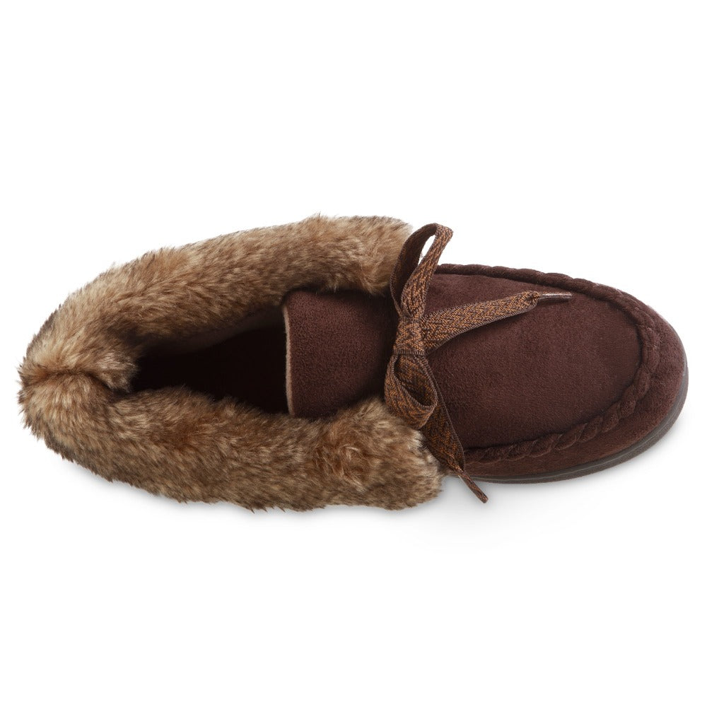 Women's Microsuede Nelly Moc Bootie Slippers in Dark Chocolate Inside Top View