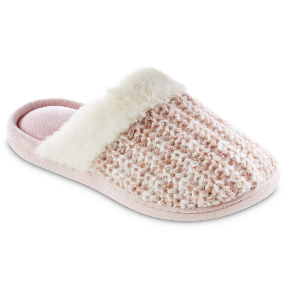 Women's Sweater Knit Shelia Clog Slippers in Evening Sand Pink Right Angled View