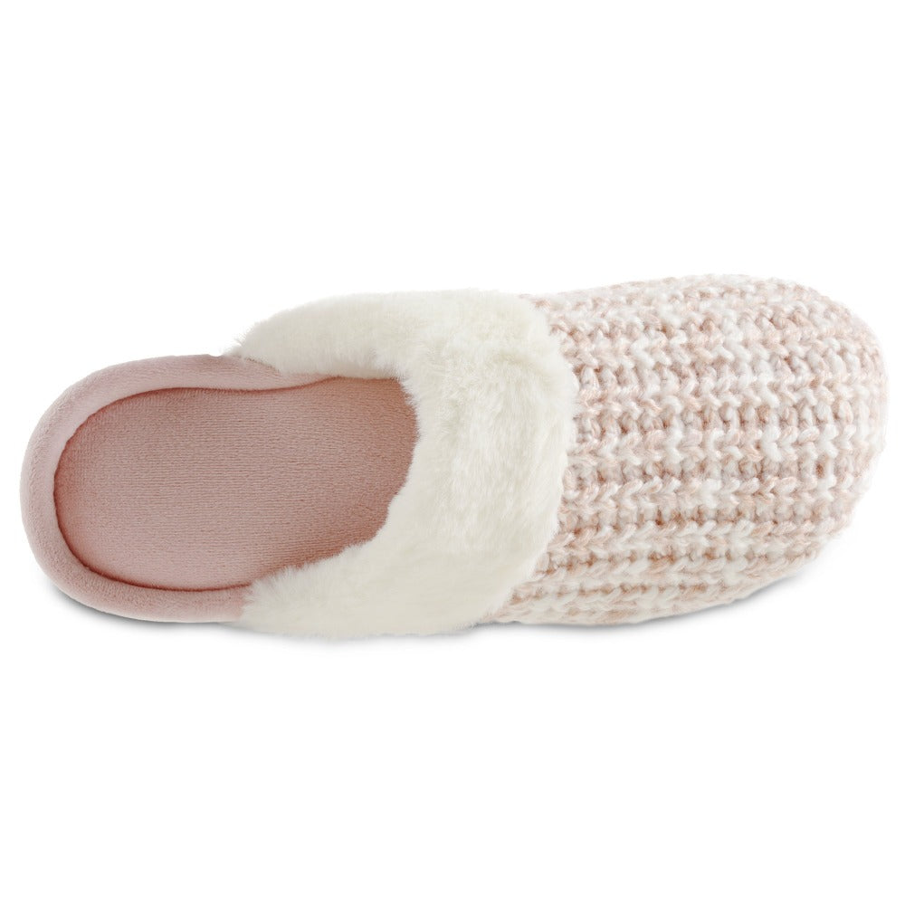 Women's Sweater Knit Shelia Clog Slippers in Evening Sand Pink Inside Top View