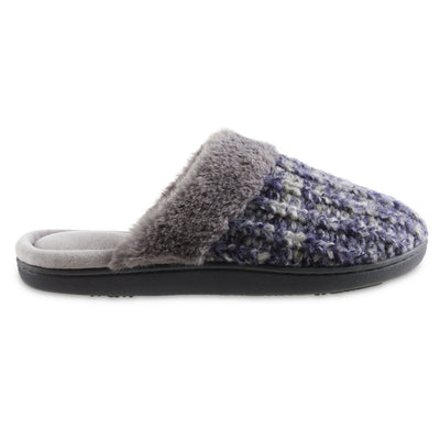 Women's Sweater Knit Shelia Clog Slippers in Navy Blue Profile