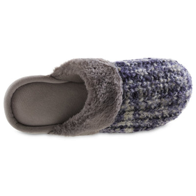 Women's Sweater Knit Shelia Clog Slippers in Navy Blue Inside Top View