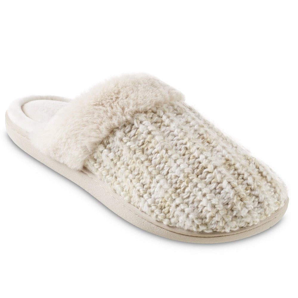 Women's Sweater Knit Shelia Clog Slippers in Sandtrap Right Angled View