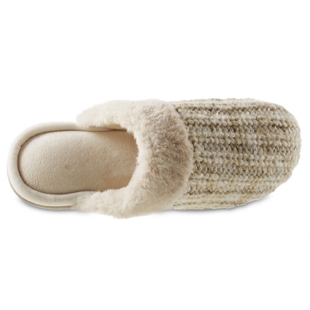 Women's Sweater Knit Shelia Clog Slippers in Sandtrap Inside Top View