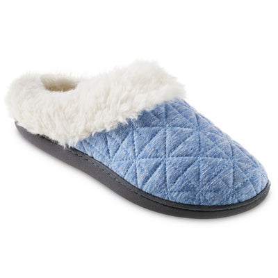 Women's Recycled Quilted Bridget Hoodback Slippers in Blue Marlin Right Angled View