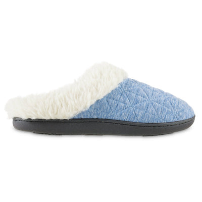 Women's Recycled Quilted Bridget Hoodback Slippers in Blue Marlin Profile