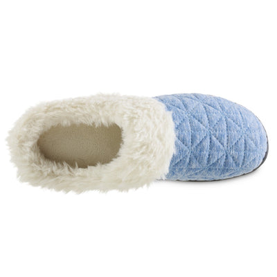 Women's Recycled Quilted Bridget Hoodback Slippers in Blue Marlin Inside Top View