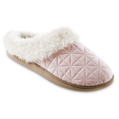 Women's Recycled Quilted Bridget Hoodback Slippers in Evening Sand Pink Right Angled View