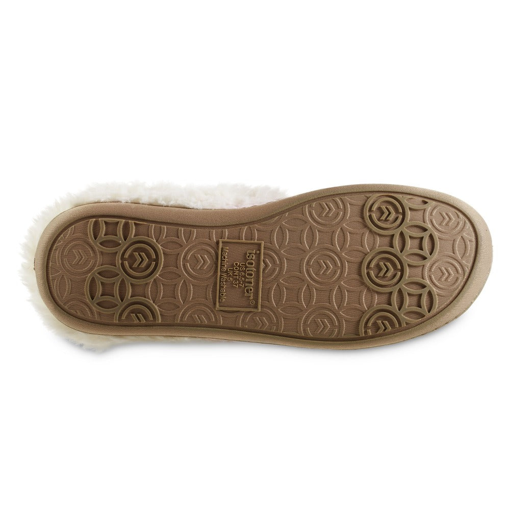 Women's Recycled Quilted Bridget Hoodback Slippers in Evening Sand Pink Bottom Sole Tread