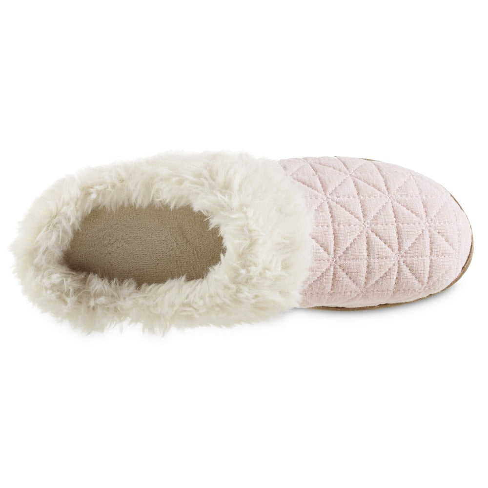 Women's Recycled Quilted Bridget Hoodback Slippers in Evening Sand Pink Inside Top View