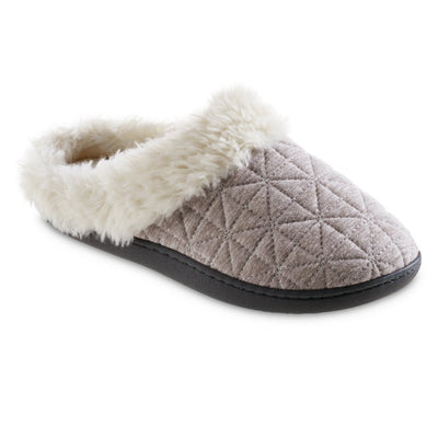 Women's Recycled Quilted Bridget Hoodback Slippers in Heather Grey Right Angled View