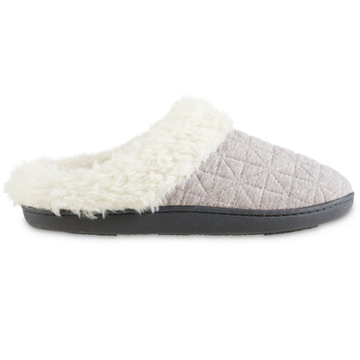 Women's Recycled Quilted Bridget Hoodback Slippers in Heather Grey Profile