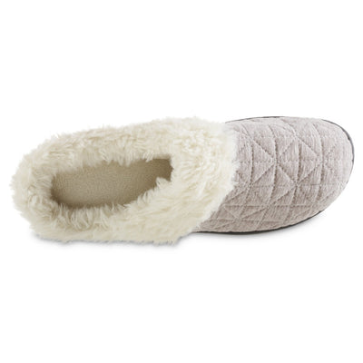 Women's Recycled Quilted Bridget Hoodback Slippers in Heather Grey Inside Top View
