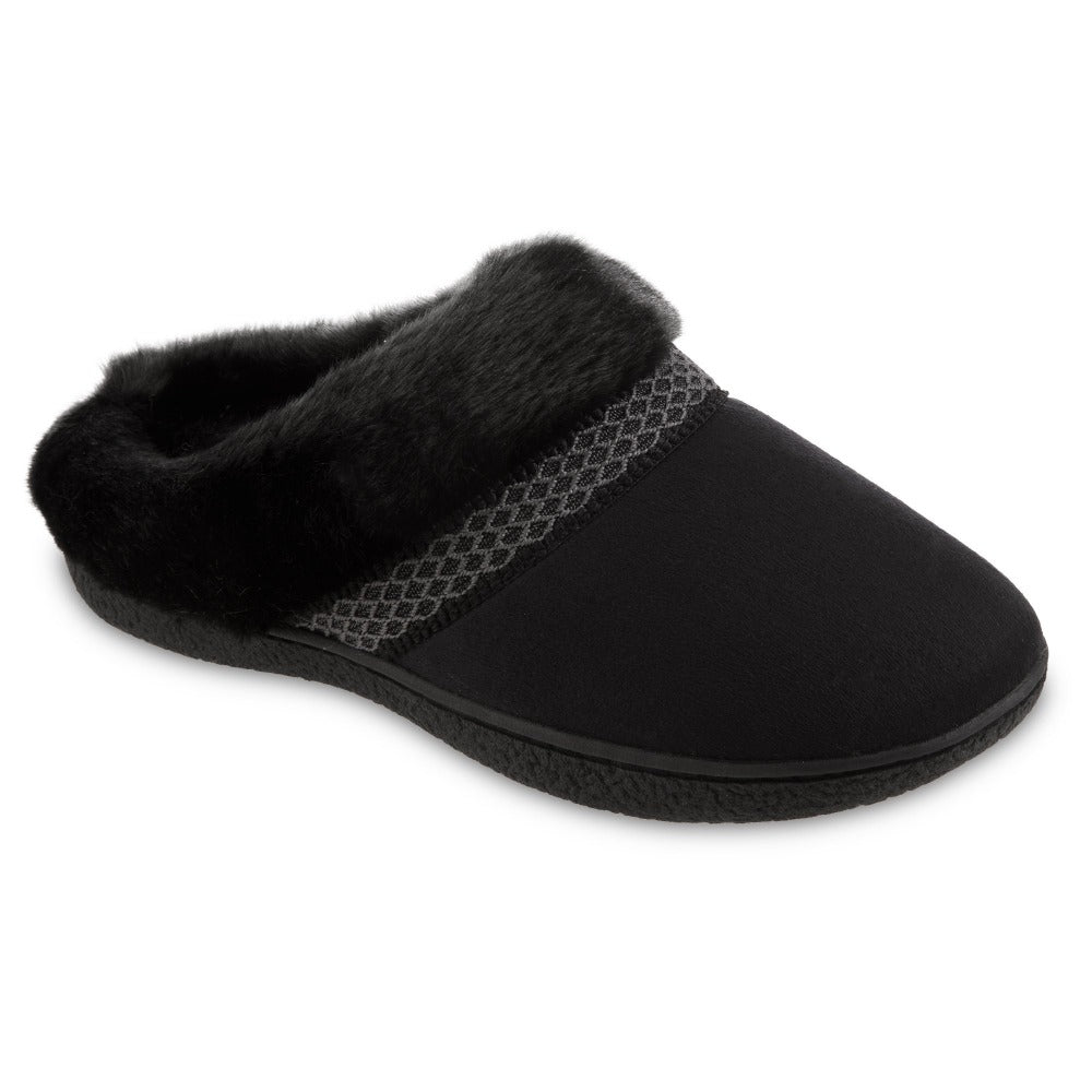 Women's Recycled Microsuede Mallory Hoodback Slippers in Black Right Angled View