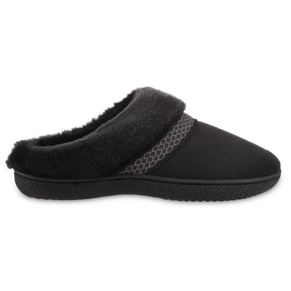 Women's Recycled Microsuede Mallory Hoodback Slippers in Black Profile