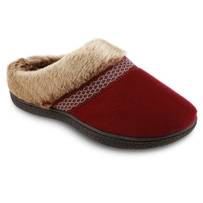Women's Recycled Microsuede Mallory Hoodback Slippers in Chili Red Right Angled View