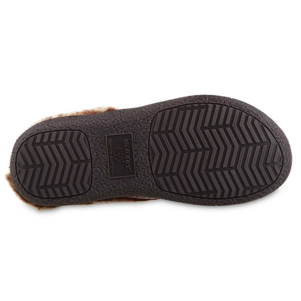 Women's Recycled Microsuede Mallory Hoodback Slippers in Chili Red Bottom Sole Tread
