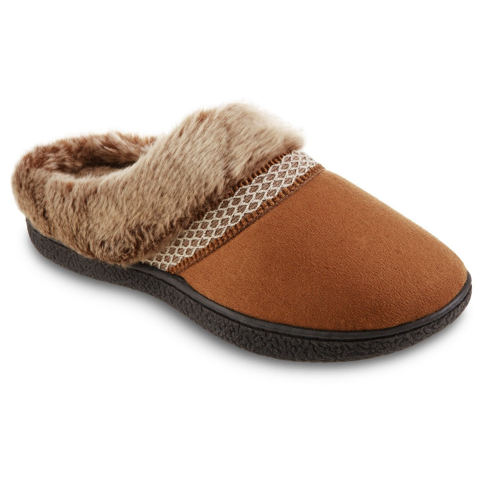 Women's Recycled Microsuede Mallory Hoodback Slippers in Cognac Tan right Angled View