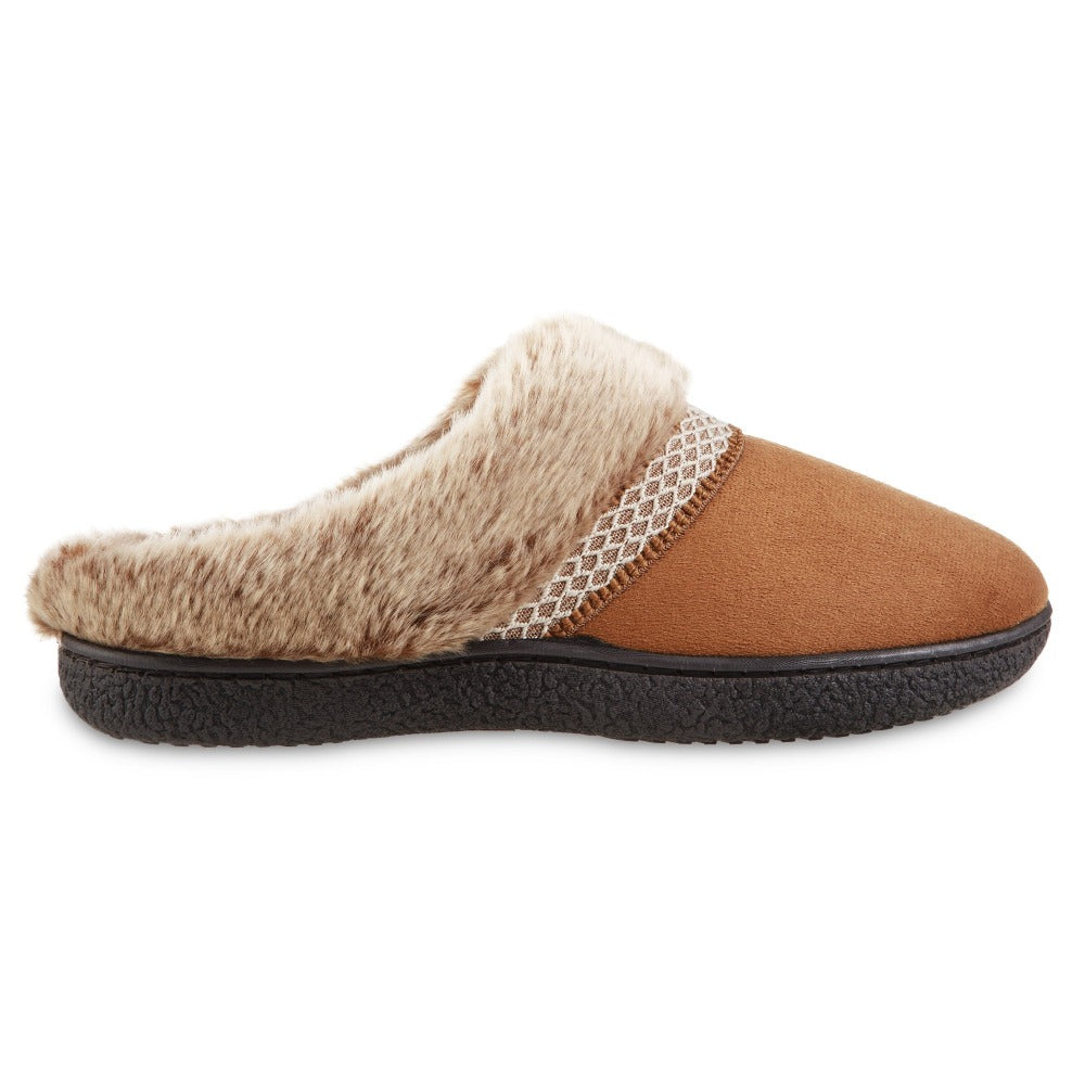 Women's Recycled Microsuede Mallory Hoodback Slippers in Cognac Tan Profile