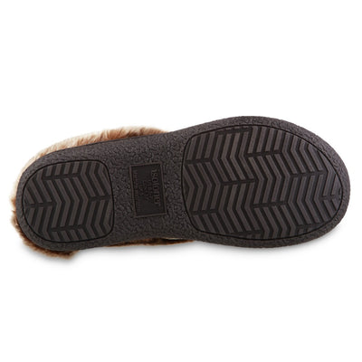 Women's Recycled Microsuede Mallory Hoodback Slippers in Cognac Tan Bottom Sole Tread