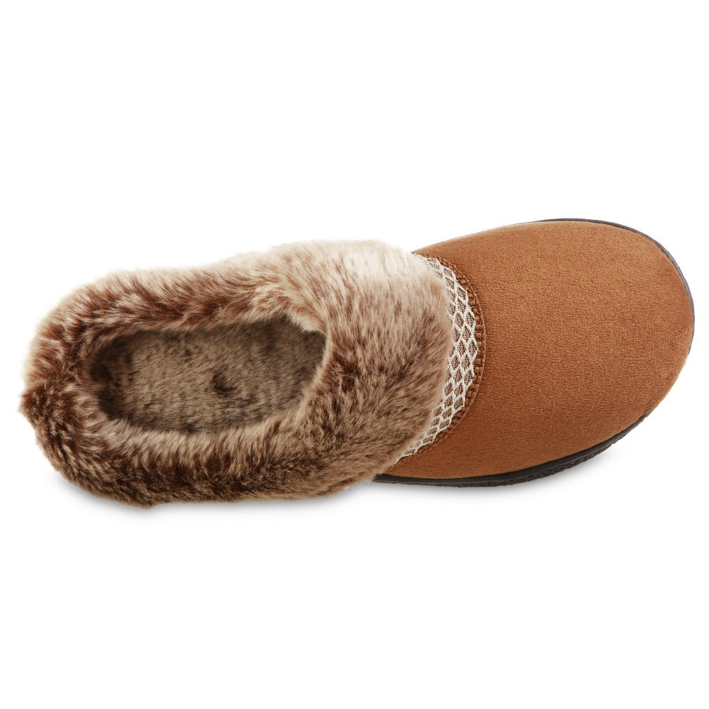 Women's Recycled Microsuede Mallory Hoodback Slippers in Cognac Tan Inside Top View