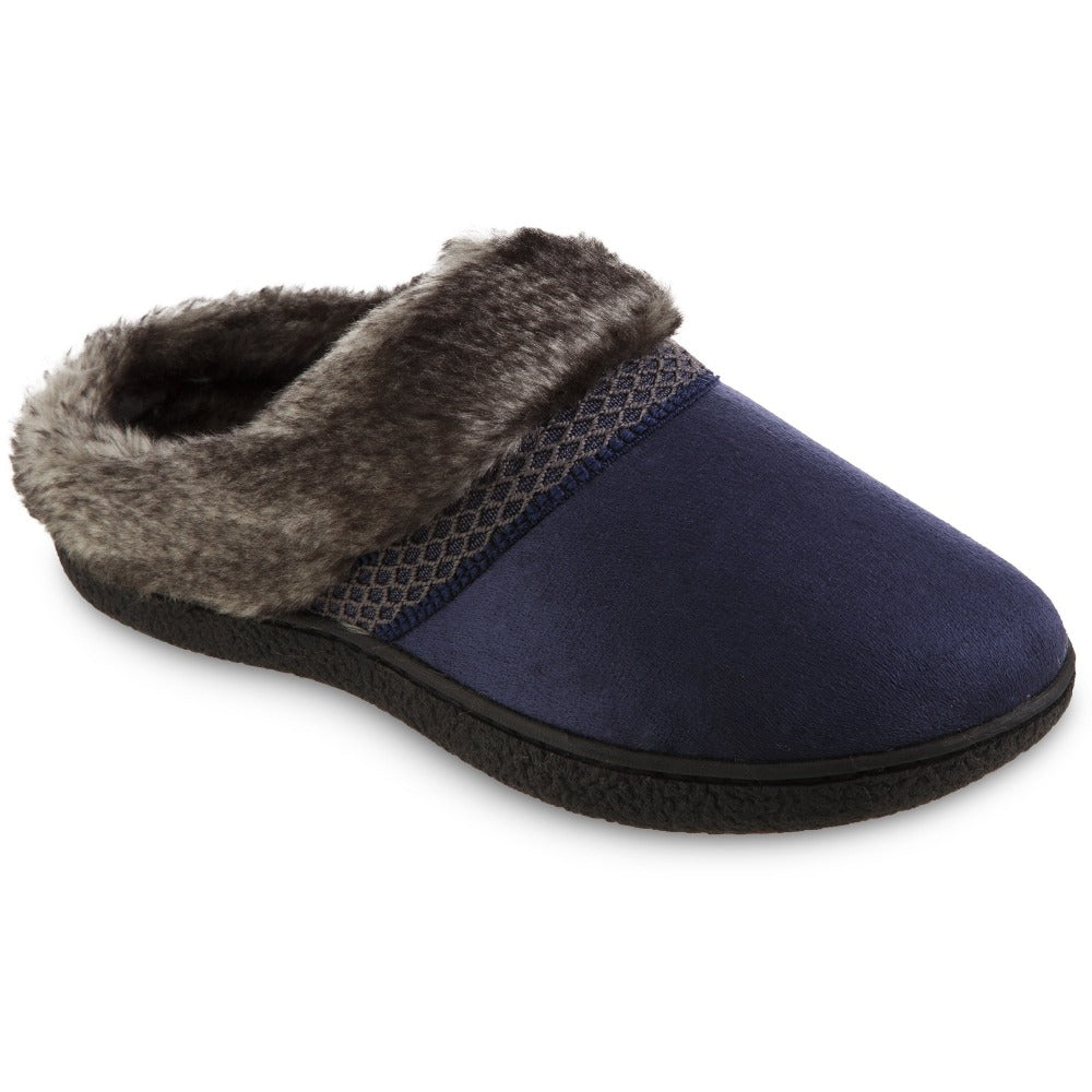 Women's Recycled Microsuede Mallory Hoodback Slippers in Navy Blue Right Angled View
