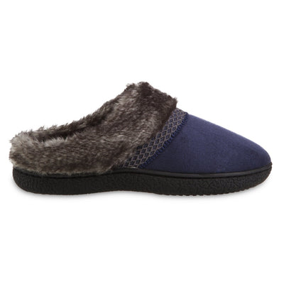 Women's Recycled Microsuede Mallory Hoodback Slippers in Navy Blue Profile