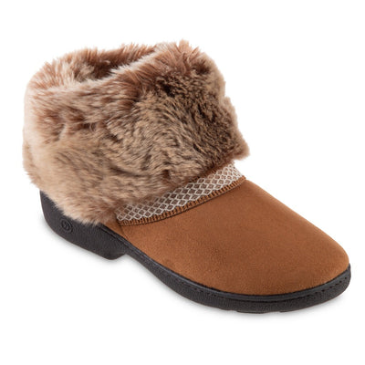 Women's Recycled Microsuede Mallory Boot Slippers in Cognac Tan Right Angled View