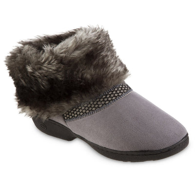 Women's Recycled Microsuede Mallory Boot Slippers in Ash Grey Right Angled View