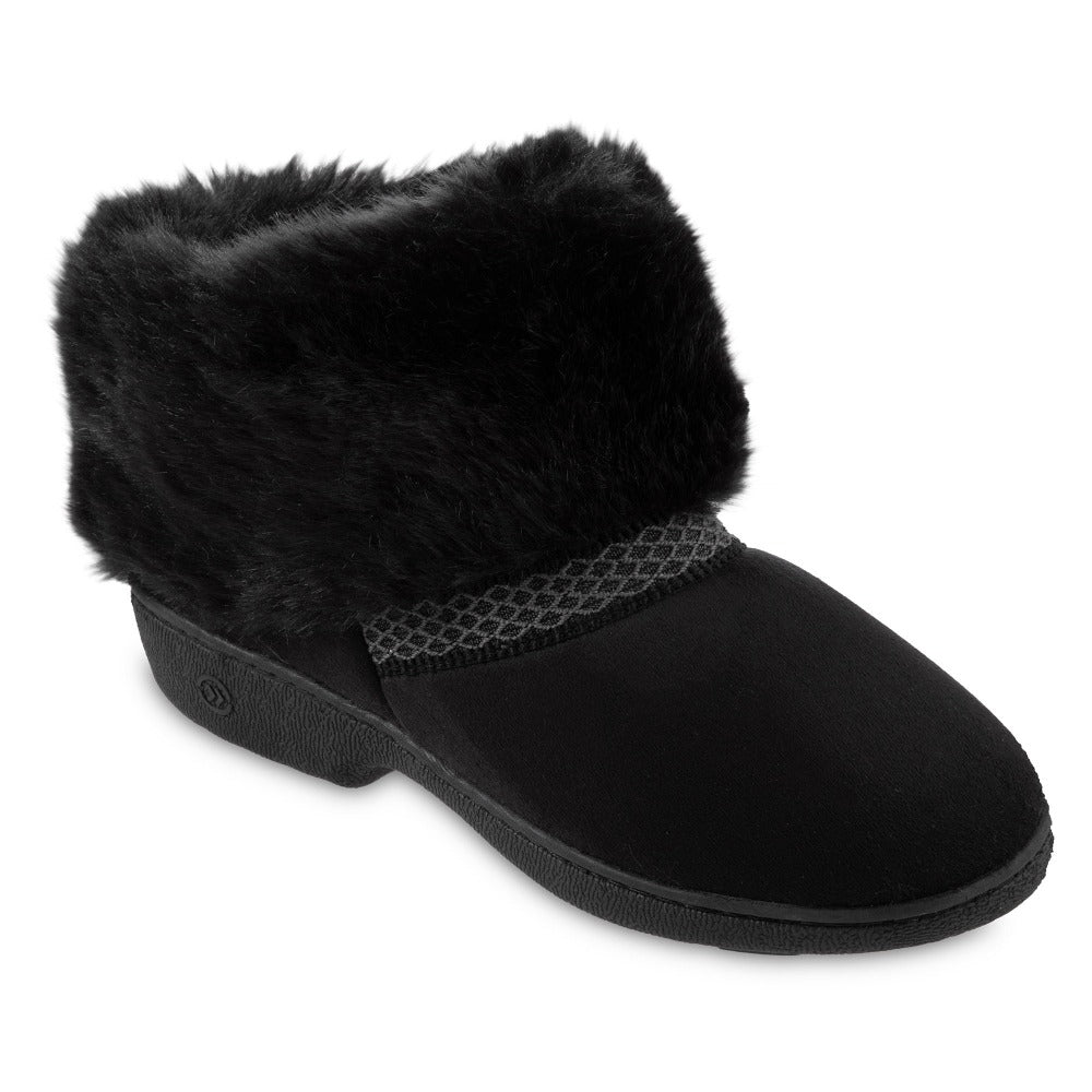Women's Recycled Microsuede Mallory Boot Slippers in Black Right Angled View