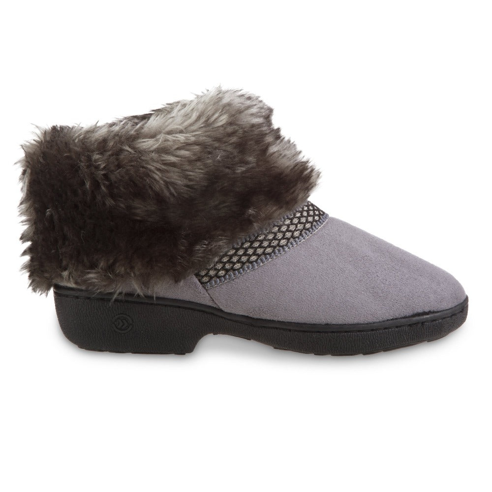 Women's Recycled Microsuede Mallory Boot Slippers in Ash Grey Profile