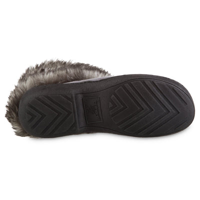 Women's Recycled Microsuede Mallory Boot Slippers in Ash Grey Bottom Sole Tread