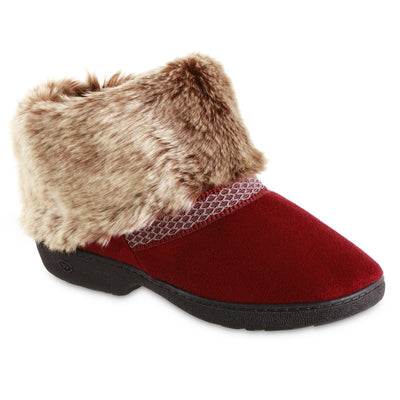 Women's Recycled Microsuede Mallory Boot Slippers in Chili Red Right Angled View