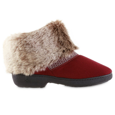 Women's Recycled Microsuede Mallory Boot Slippers in Chili Red Profile
