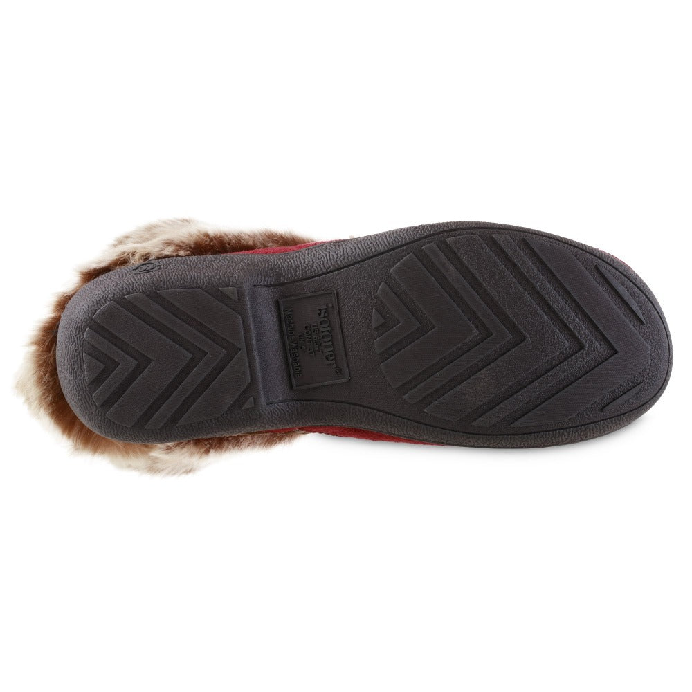 Women's Recycled Microsuede Mallory Boot Slippers in Chili Red Bottom Sole Tread