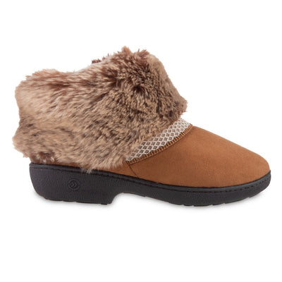 Women's Recycled Microsuede Mallory Boot Slippers in Cognac Tan Profile