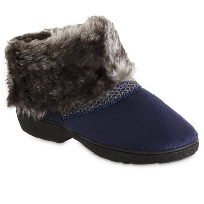 Women's Recycled Microsuede Mallory Boot Slippers in Navy Blue Right Angled View