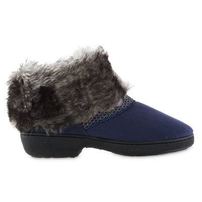 Women's Recycled Microsuede Mallory Boot Slippers in Navy Blue Profile