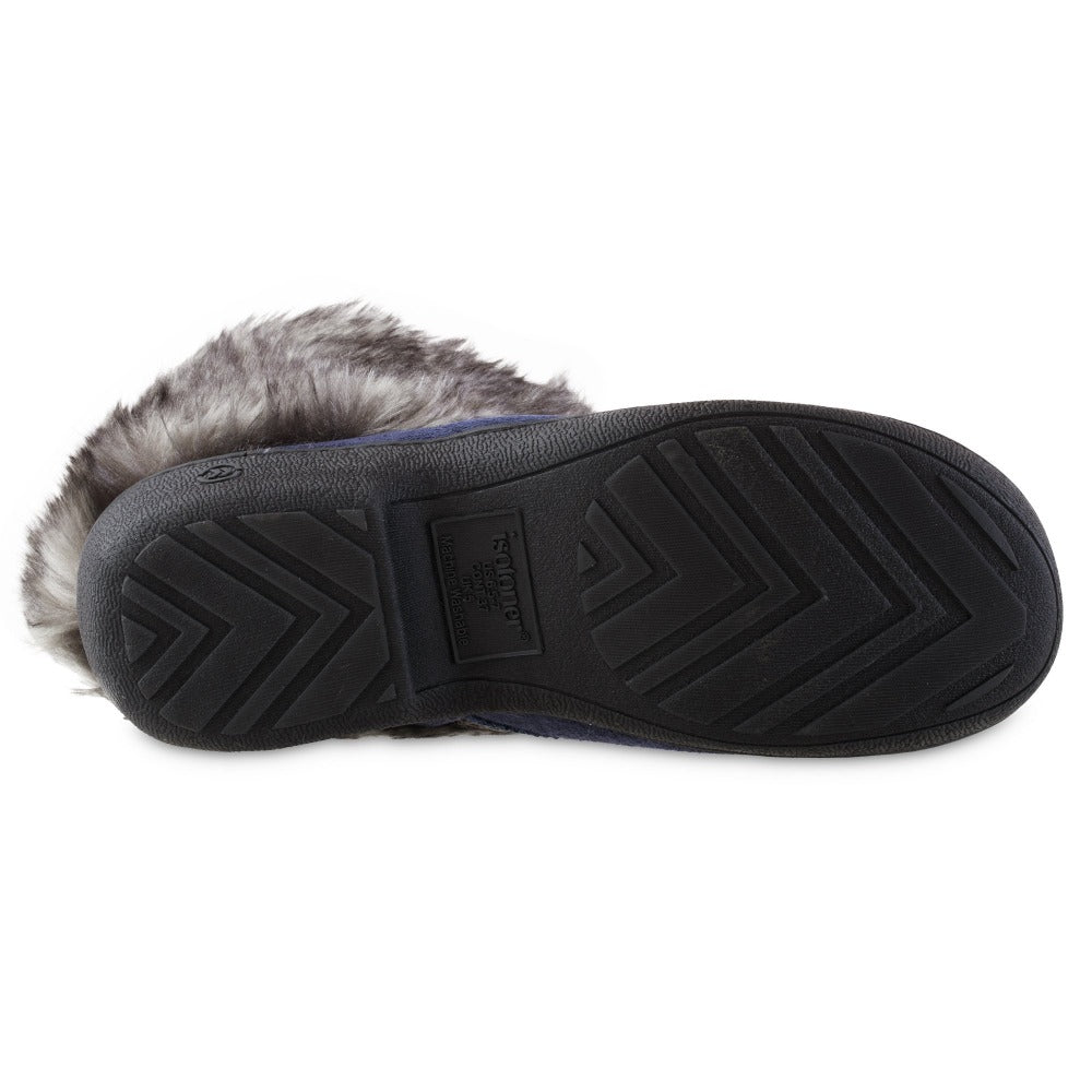 Women's Recycled Microsuede Mallory Boot Slippers in Navy Blue Bottom Sole Tread