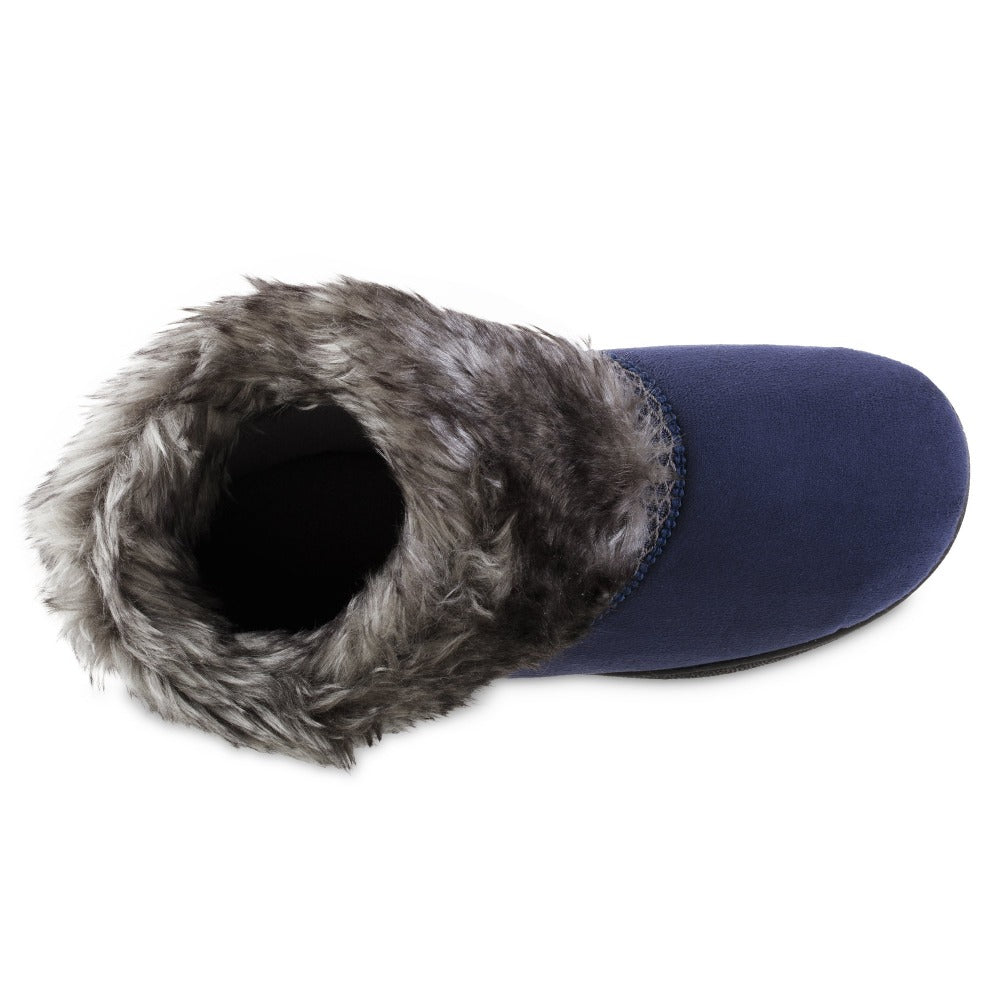 Women's Recycled Microsuede Mallory Boot Slippers in Navy Blue Inside Top VIew