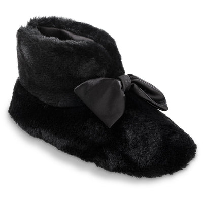 Women's Fur and Satin Tabby Boot Slippers in Black Right Angled View
