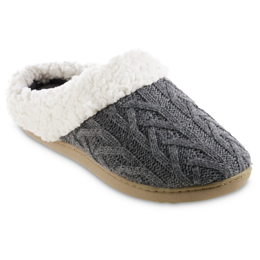 Women's Cable Knit Alexis Hoodback Slippers in Charcoal Heather Right Angled View