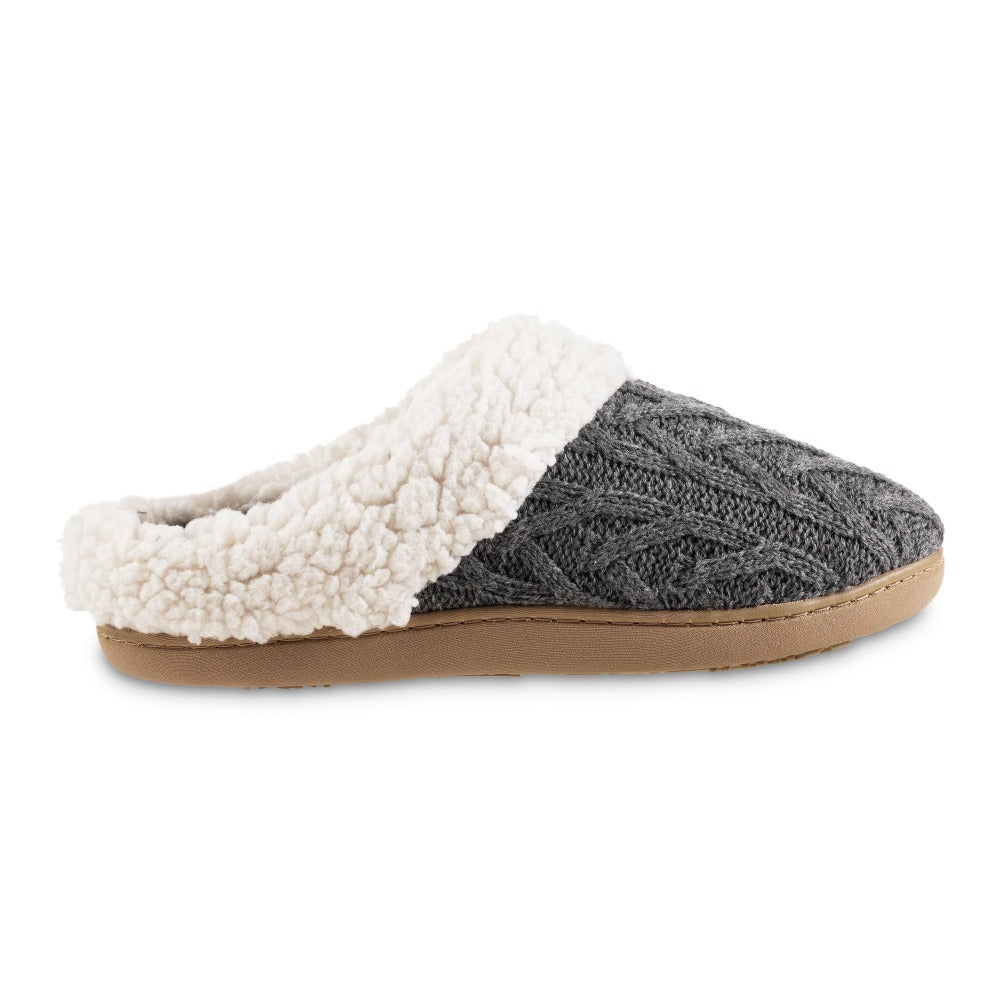 Women's Cable Knit Alexis Hoodback Slippers in Charcoal Heather Profile