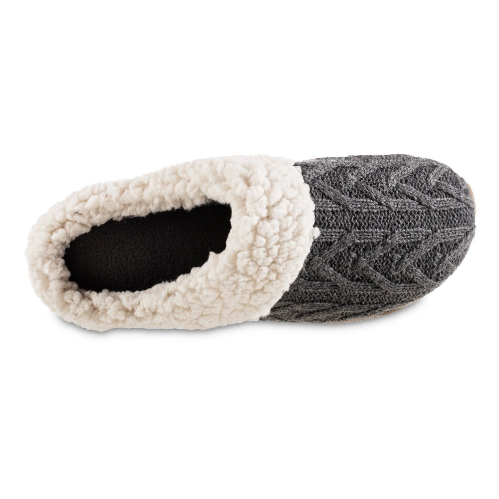 Women's Cable Knit Alexis Hoodback Slippers in Charcoal Heather Inside Top View