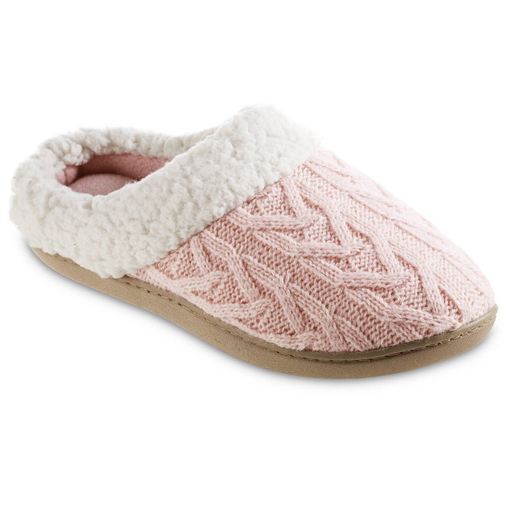 Women's Cable Knit Alexis Hoodback Slippers in Evening Sand Pink Right Angled View