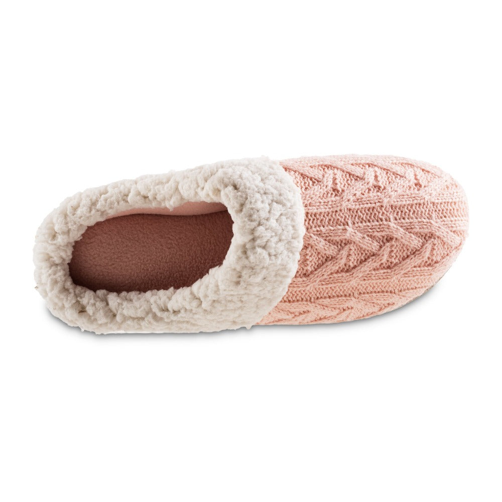 Women's Cable Knit Alexis Hoodback Slippers in Evening Sand Pink Inside Top View